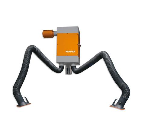 Urządzenie odciągowe do dymów spawalniczych, z dwoma ramionami odciągowymi do użytku ciągłego z filtrem do oczyszczania